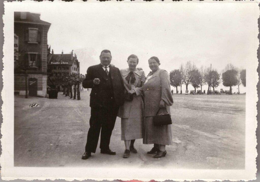 Bild: Albert und Maria Gürtler-Baumann mit Tochter Gertrud, ca. 1936 möglicherweise in Vevey