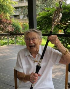 Bild: Gertrud Ulrich-Gürtler an ihrem 100. Geburtstag
