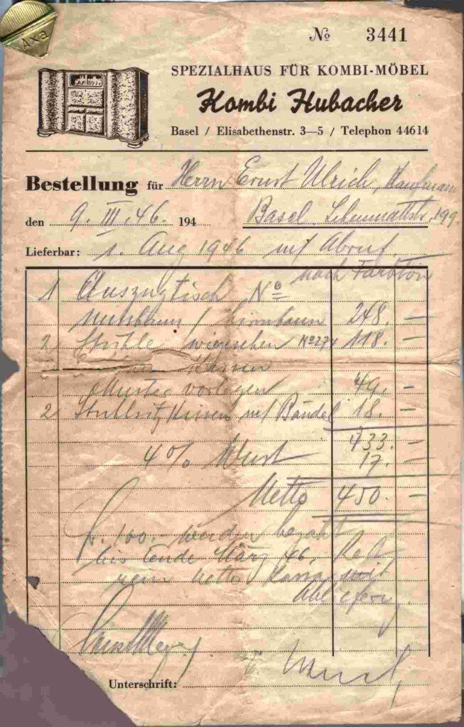 Bild: Rechnung Möbelhaus Hubacher aus dem Jahr 1946