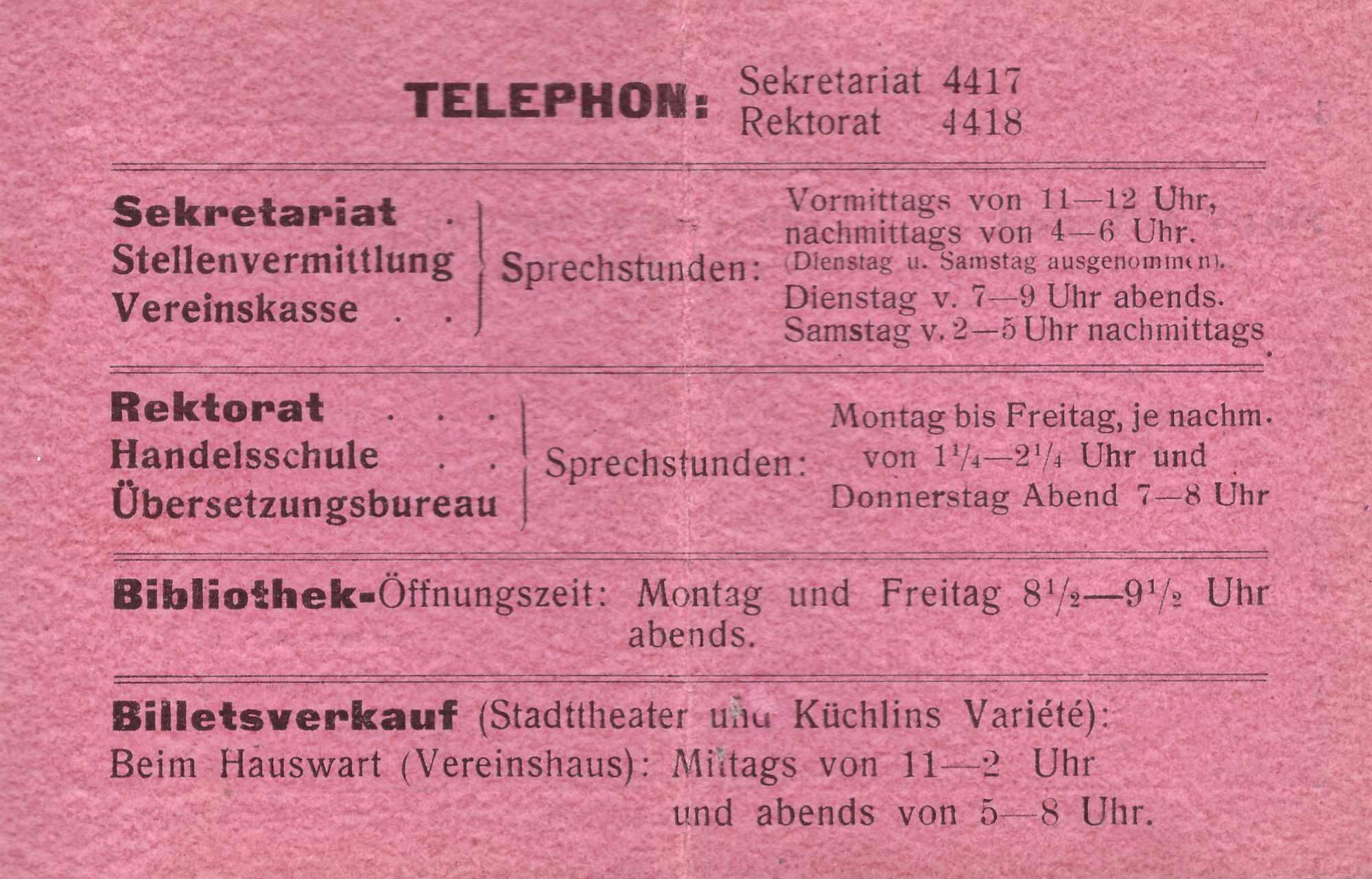 Bild: Mitgliederausweis Kaufmännischer Verein Basel (1919)