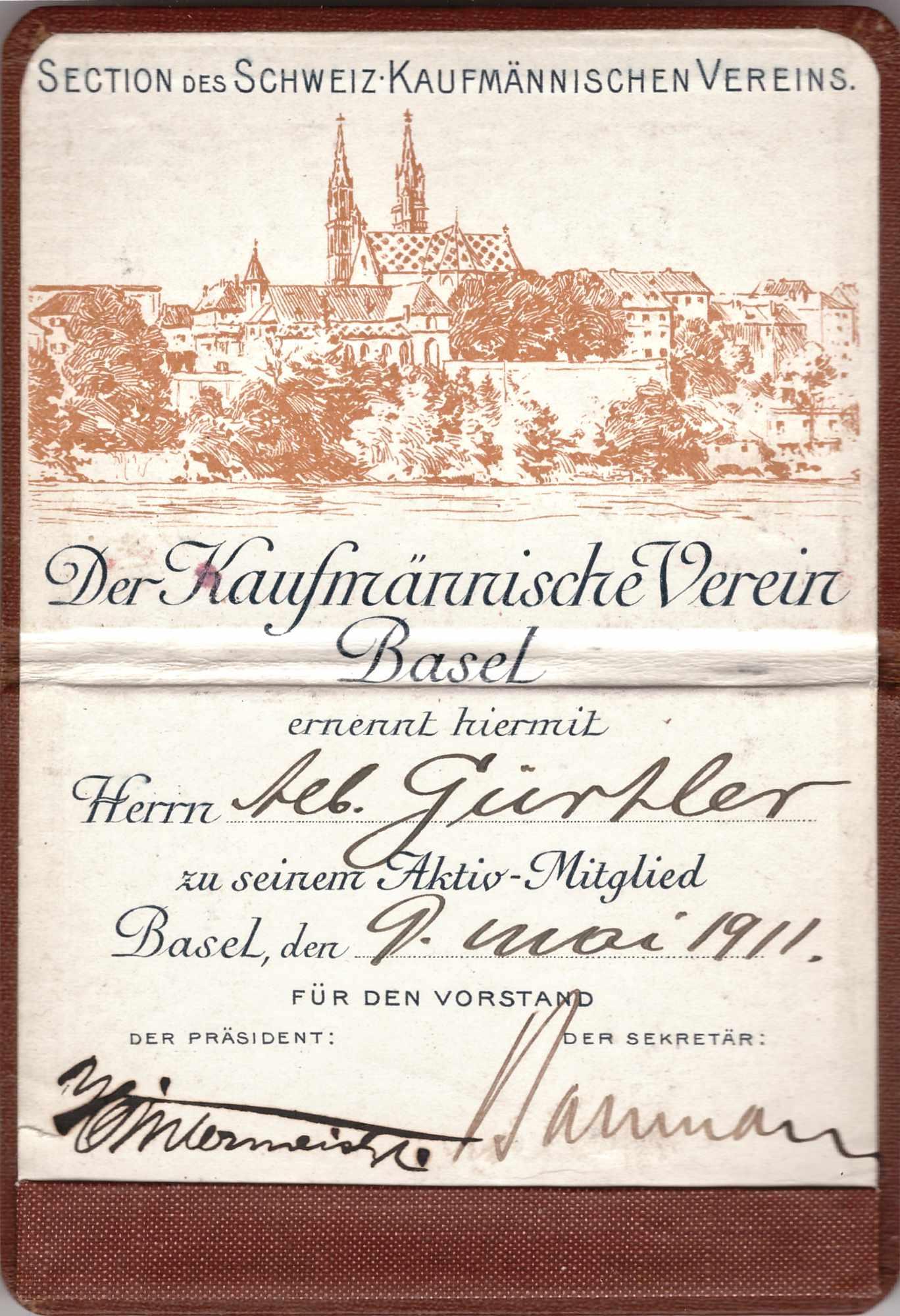 Bild: Ausweis Kaufmännischer Verein Basel (1911)