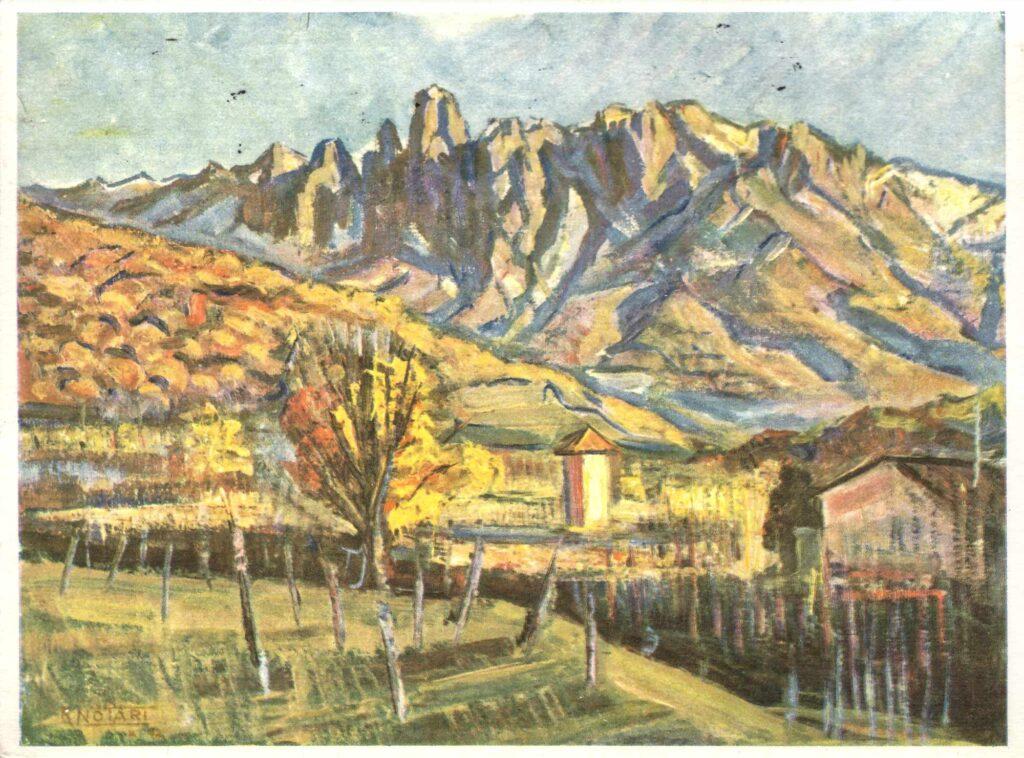 Bild: Postkarte (pro Infirmis, Bild Renato Notari, Tesserete: Tessiner Landschaft) von 1944
