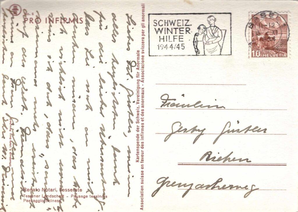 Bild: Postkarte (pro Infirmis) von 1944 mit Gruss-Text