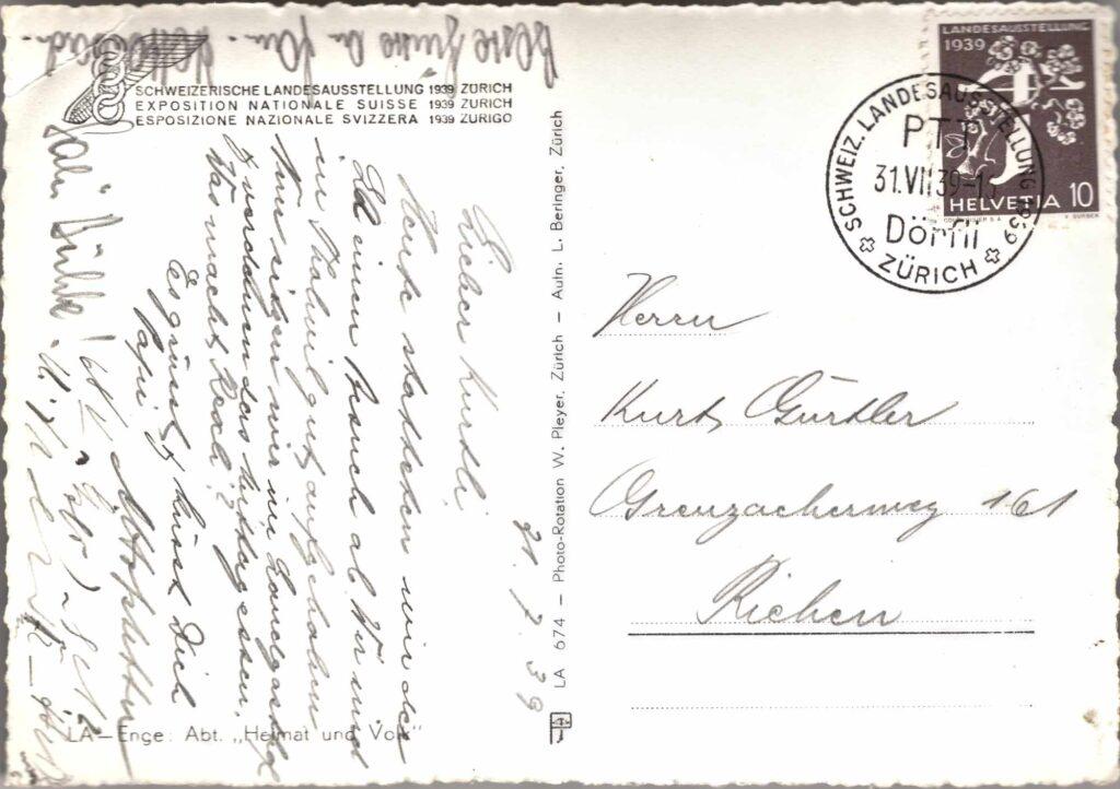 Bild: Postkarte Schweizerische Landesausstellung von 1939 in Zürich, Rückseite mit Text