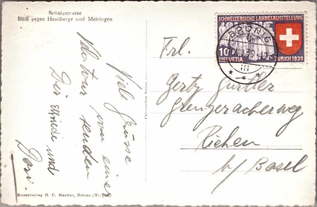 Bild: Postkarte Brünigstrasse, 1939, Rückseite mit Gruss