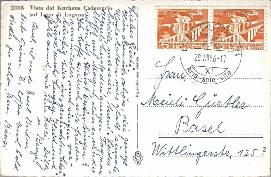 Bild: Postkarte, Kurhaus Cademario, sul Lago di Lugano, 1956, Rückseite mit Gruss