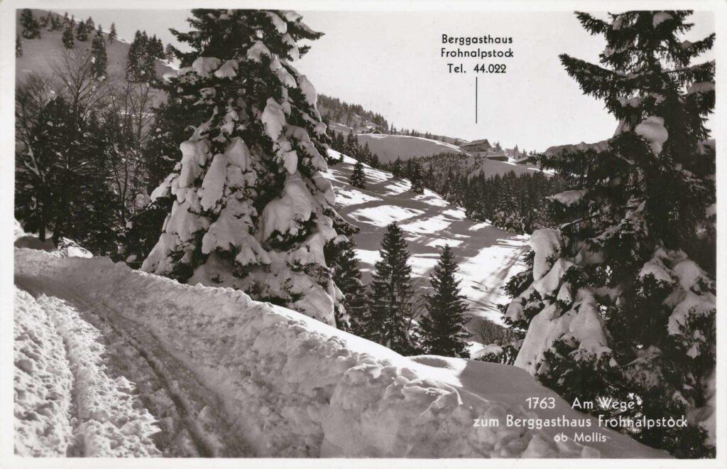Bild: Postkarte Berggasthaus Fohnalpstock ob Mollis, 1942