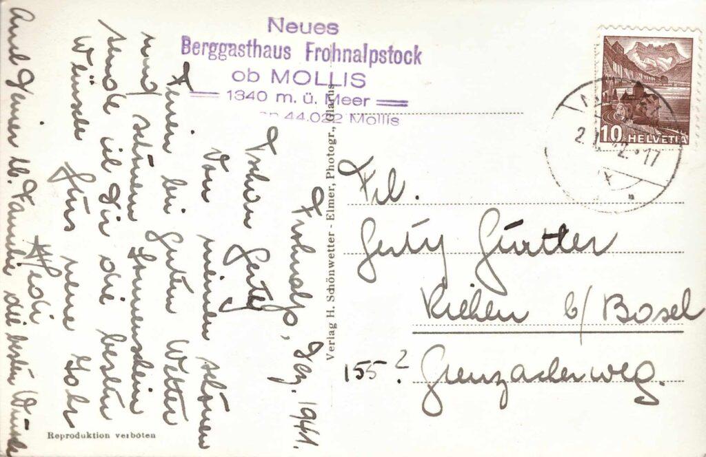 Bild: Postkarte Berggasthaus Fohnalpstock ob Mollis, 1942 , Rückseite mit Gruss