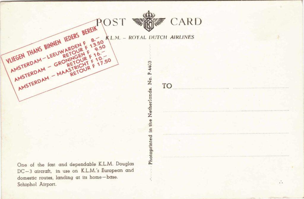 Bild: Rückseite Postkarte KLM mit Douglas DC-3 aircraft