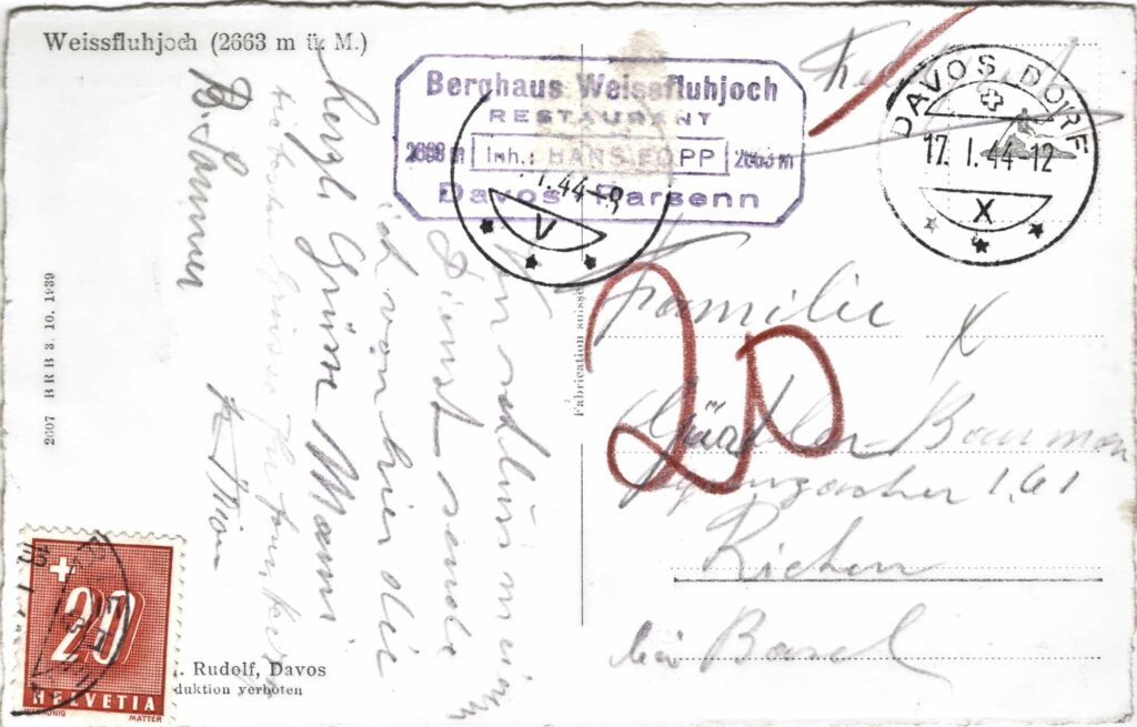 Bild: Rückseite Postkarte Weissfluhjoch aus dem Jahr 1944 mit Gruss