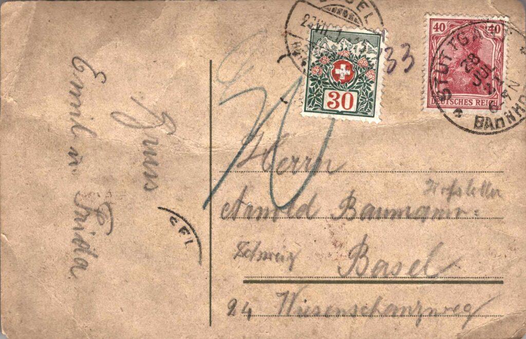 Bild: Postkarte aus Stuttgart von 1921, Rückseite mit Gruss