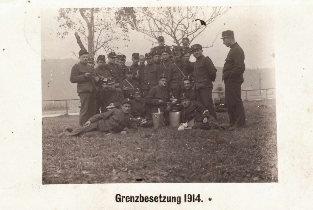 Bild: Gruppenfoto Grenzbesetzung 1914, Albert Gürtler li aussen