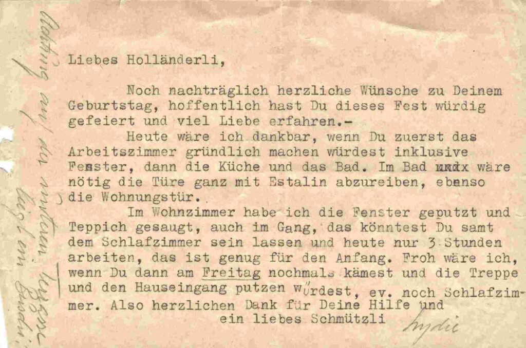 Bild: Brief an Maria Gürtler-Baumann