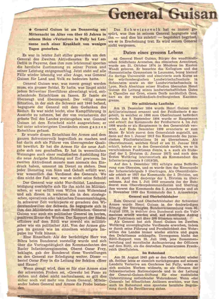 Bild: Ausschnitt National Zeitung Basel, Artikel zum Tod von General Guisan (April, 1960)