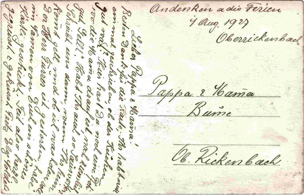 Bild: Grusstext auf Postkarte vom 1. August 1927
