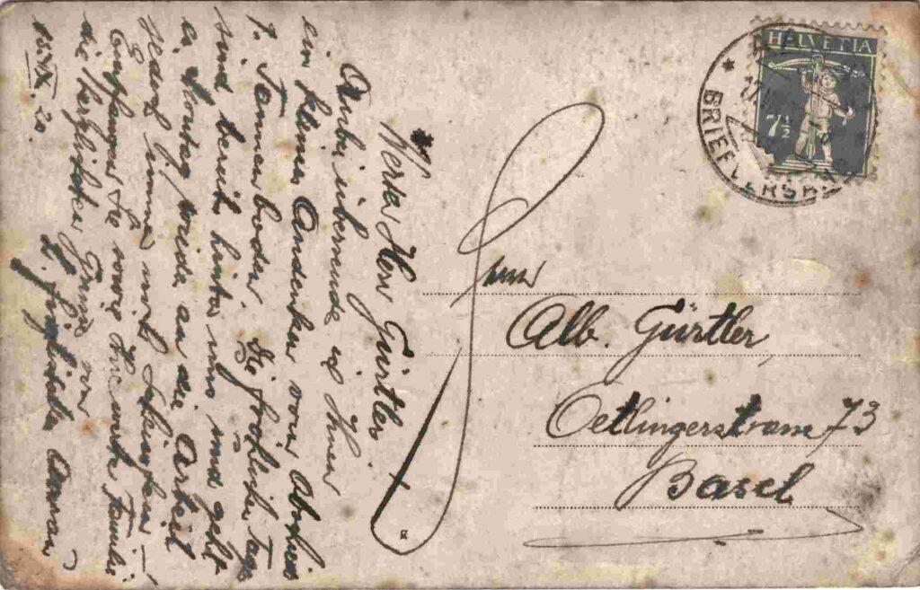 Bild: Rückseite mit Grusstext Postkarte von 1920
