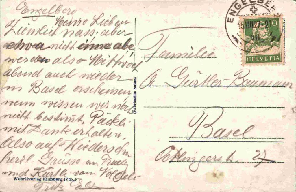 Bild: Rückseite mit Gruss, Postkarte aus Engelberg, 1927