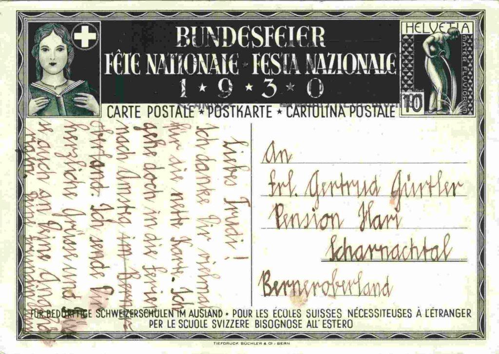 Bild: Rückseite mit Gruss, Postkarte aus dem Jahr 1930