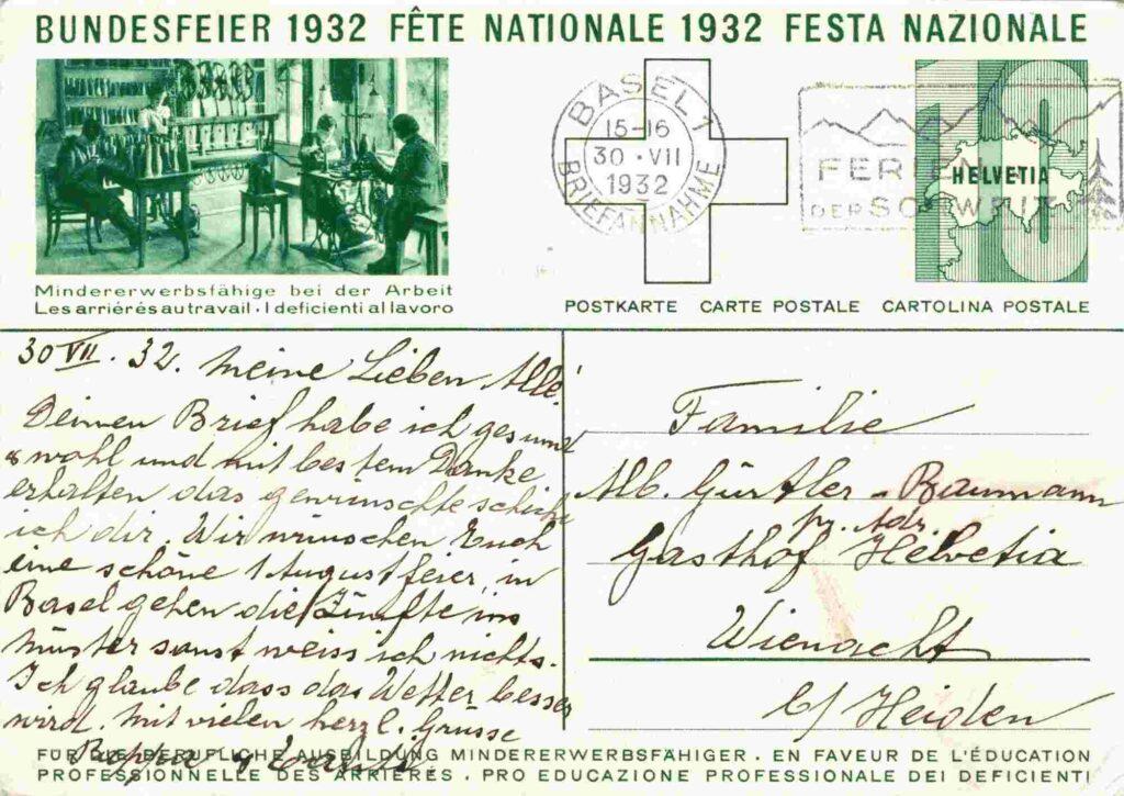 Bild: Rückseite mit Text Postkarte Bundesfeier 1932