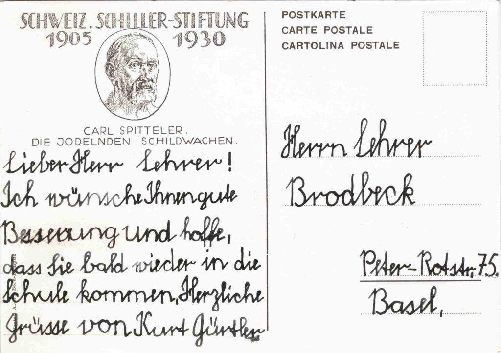 Bild: Postkarte «die jodelnden Schildwachen» Rückseite