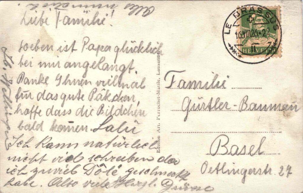 Bild: Postkarte aus Le Pont (Lac de Joux) aus dem Jahr 1926, Rückseite