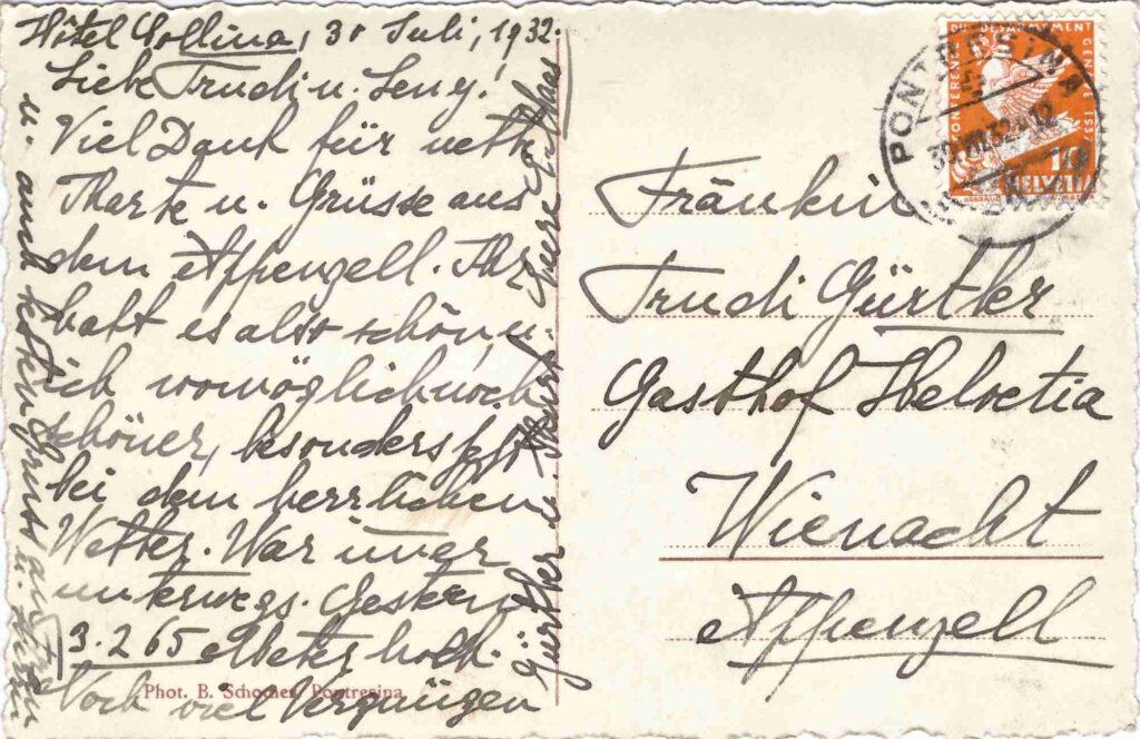Bild: Postkarte aus Pontresina, 1932, Rückseite