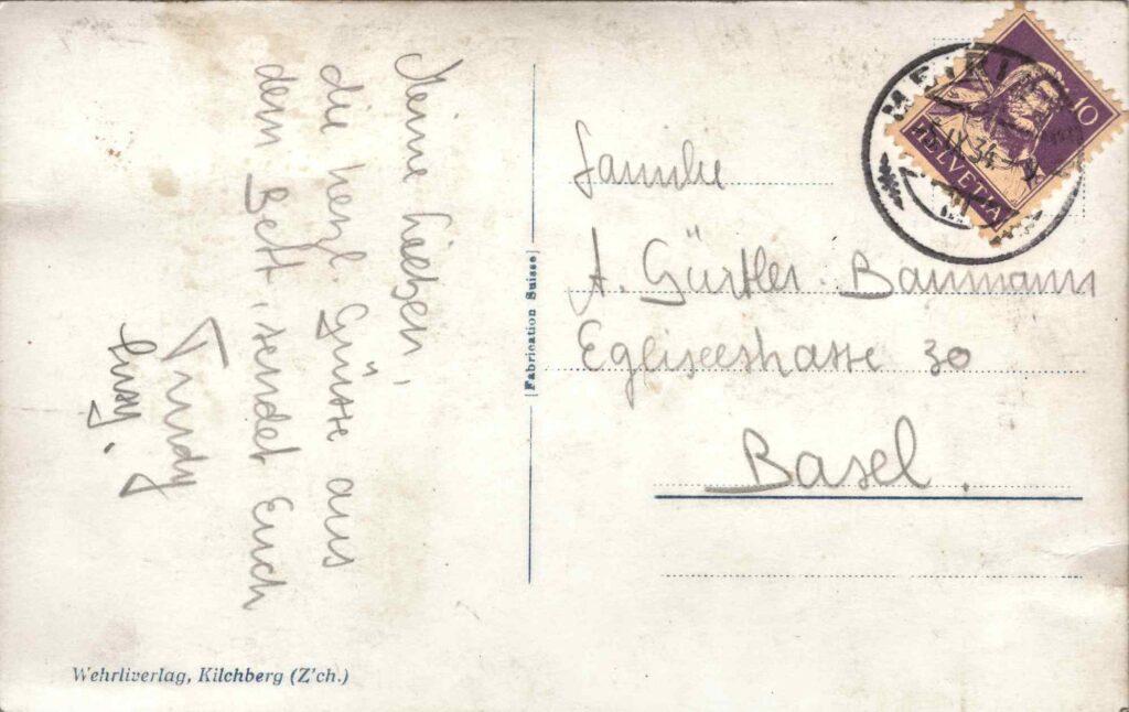 Bild: Postkarte «Oberer Reichenbachfall» 1934, Rückseite