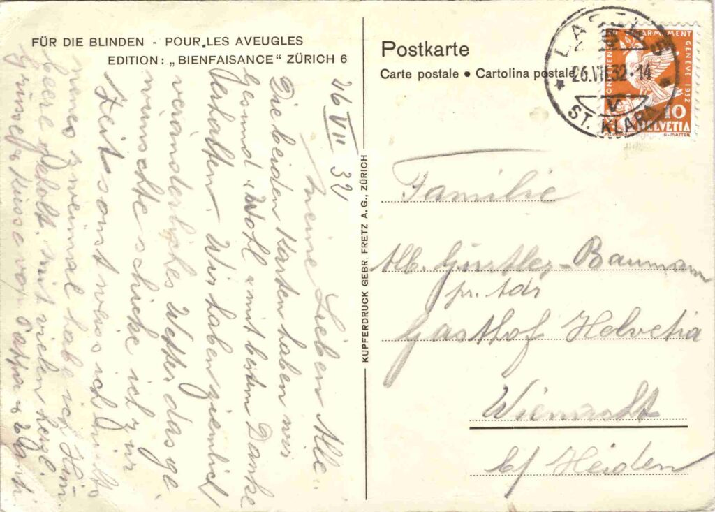 Bild: Postkarte «Pappeln bei Visp» 1932, Rückseite
