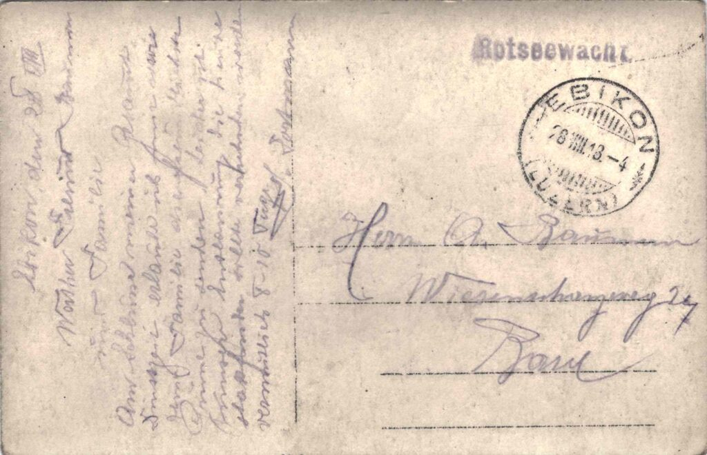 Bild: Postkarte, Feldküche 28. August 1918, Rückseite