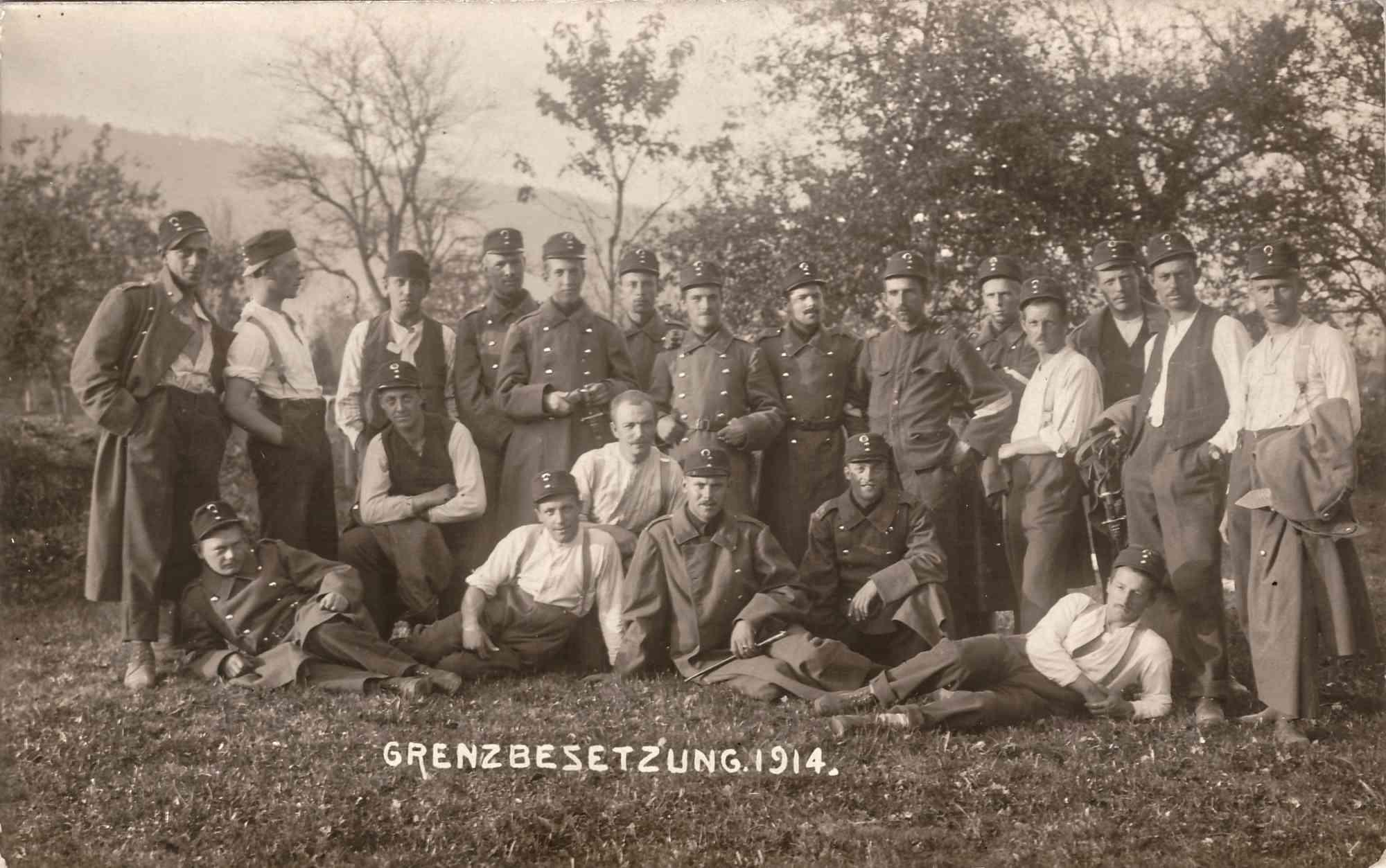Bild: Postkarte Grenzbesetzung 1914, Albert Gürtler unten links