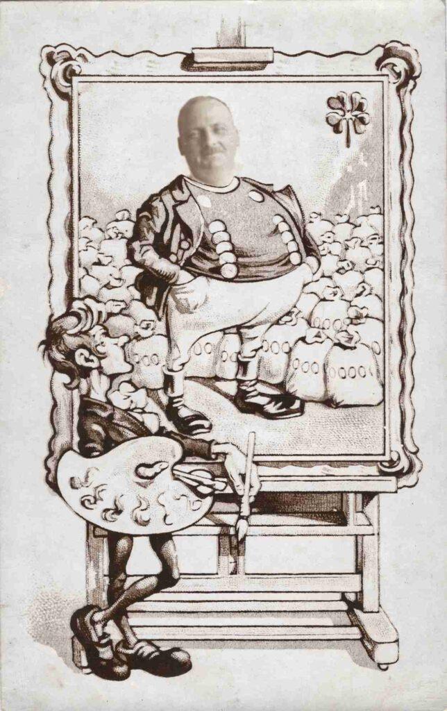 Postkarten: Postkarte mit Karikatur und unbekannter Person, Datum unbekannt