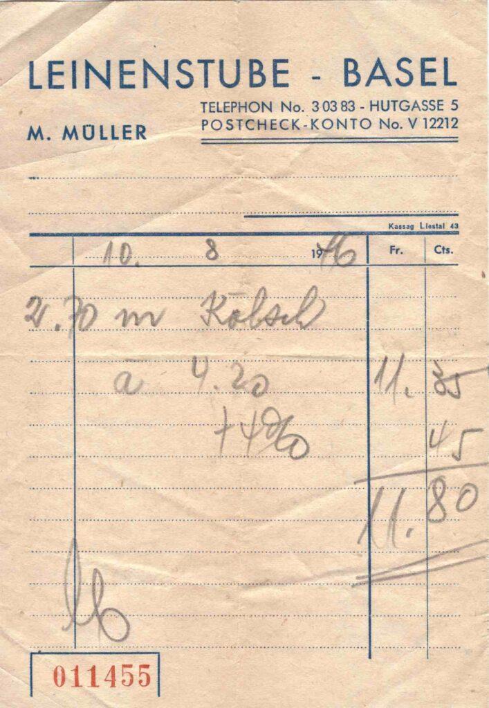 Bild: Kassenzettel der Leinenstube Basel aus dem Jahr 1946