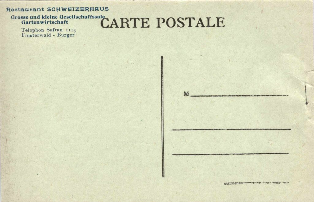 Bild: Postkarte, Restaurant Schweizerhaus Basel, Rückseite