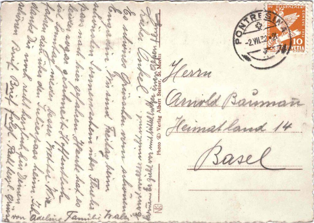 Bild: Rückseite Postkarte aus St. Moritz, 1921 mit Grusstext