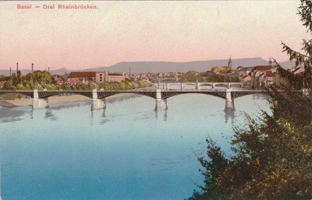 Bild: kolorierte Postkarte «Basel - Drei Brücken»