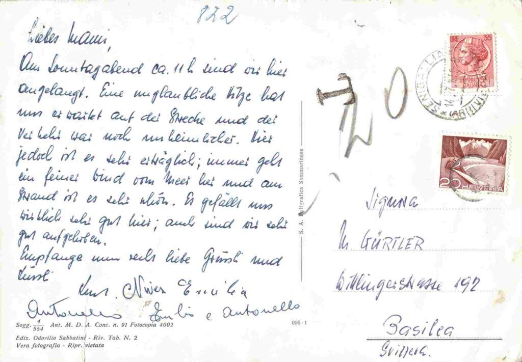 Bild: Rückseite Postkarte aus Senegallia mit Gruss von Kurt Gürtler und Familie
