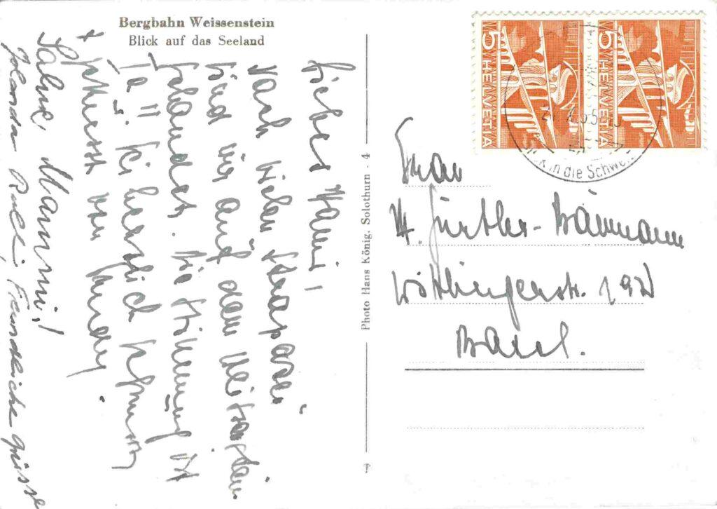 Bild: Rückseite Postkarte Bergbahn Weissenstein von 1955 mit Gruss