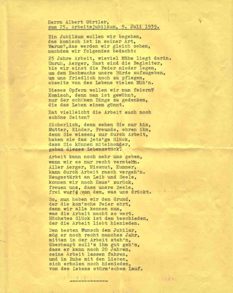 Bild: Gedicht zum 25-Jahr Arbeitsjubiläum von Albert Gürtler (9. Juli 1939)
